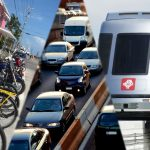 Image is a composite of three images, the far left shows a row of bicycles, the middle image shows cars on a highway, and the image on the right shows a train.